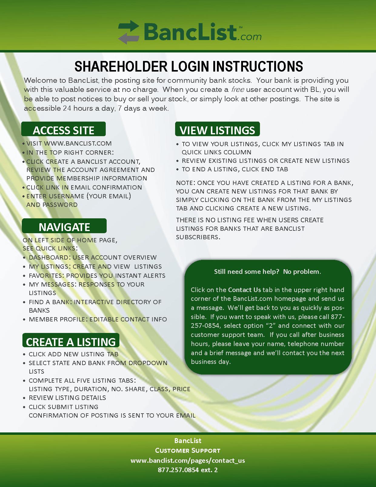 BancList Shareholder Instructions (2015)
